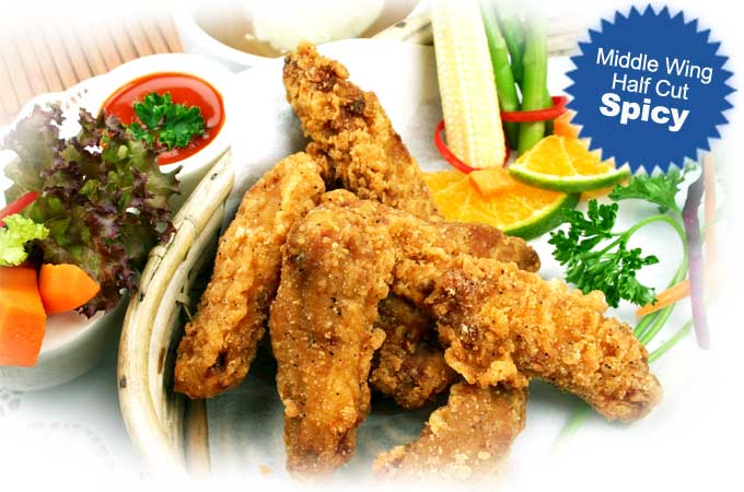 Coated Middle Wing Half Cut Spicy